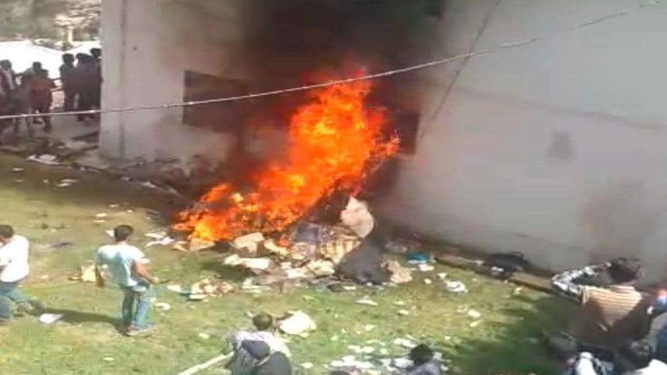 A police station in Kotkhai, near Shimla, that was set on fire by protesters on Wednesday.