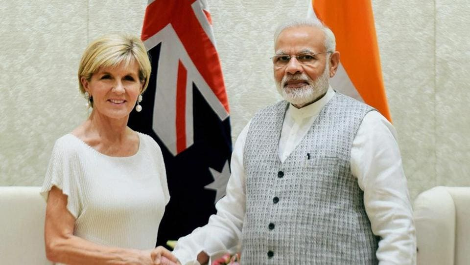 Prime Minister Narendra Modi shakes hands with minister for foreign affairs, Australia, Julie Bishop in a meeting in New Delhi on July 18.