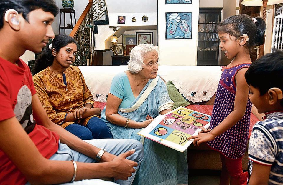 Alka Hudlikar (C) with children during speech therapy session at her residence at Prabhat Road in Pune.