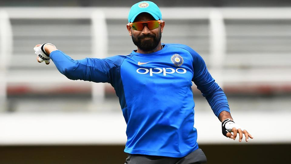 India fast bowler Mohammed Shami fields a ball during a practice session at the Queen's Park Oval in Port of Spain, Trinidad.