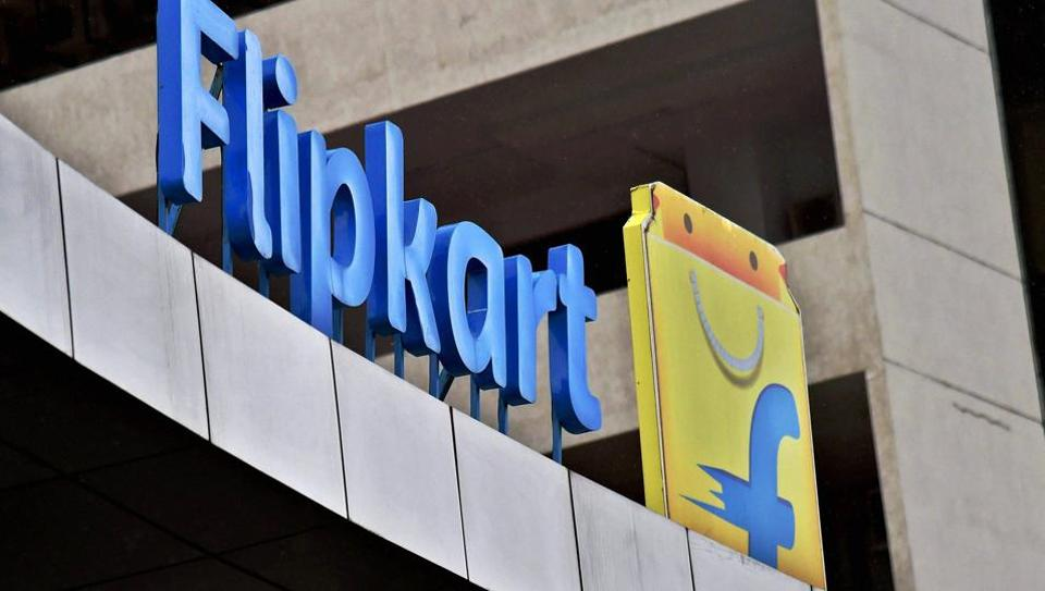 Flipkart logo on its office building during an event in Bengaluru.