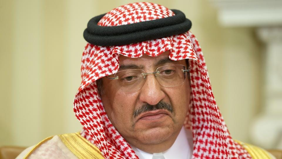Mohammed bin Nayef pauses while speaking during an event in Washington.