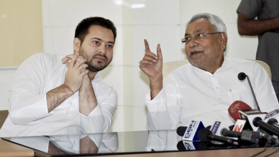A file photo of Bihar chief minister Nitish Kumar with his deputy Tejashwi Yadav in Patna