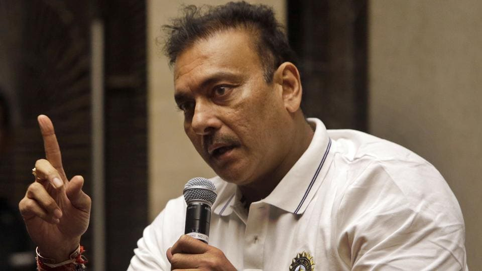 Indian cricket team head coach Ravi Shastri speaks during a press conference before leaving for their Sri Lanka tour in Mumbai on Wednesday.