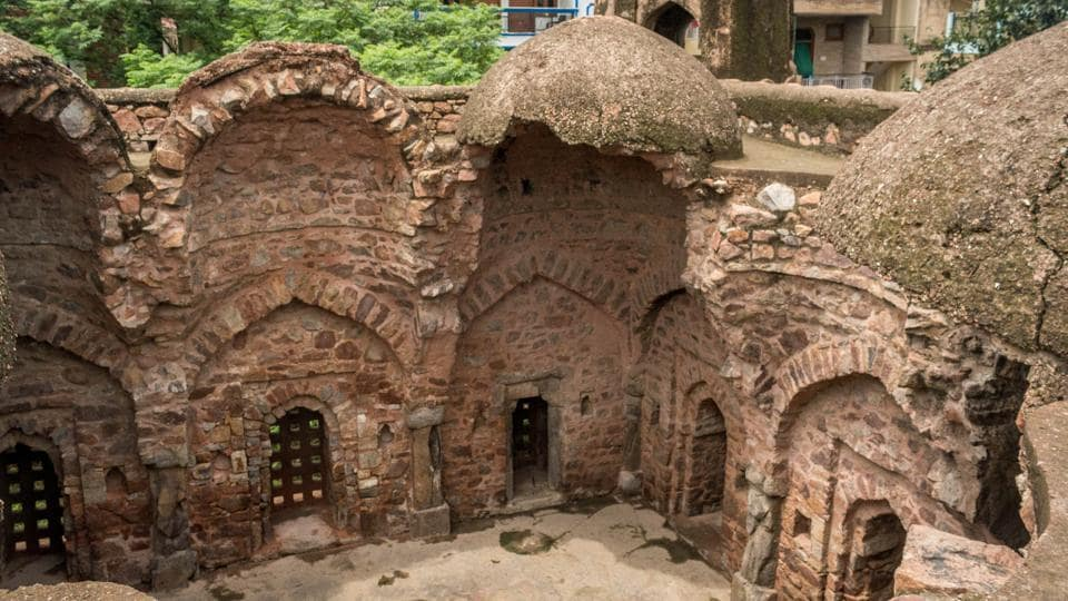 Just another 'qila' or fort in the minds of the few locals who seem aware of the monument's existence, centuries of weathering has clearly taken a toll on the Khirki Masjid where the north-east section of the domed roof has caved in, leaving it further exposed to the elements. (Abhirup Biswas / HT Photo)
