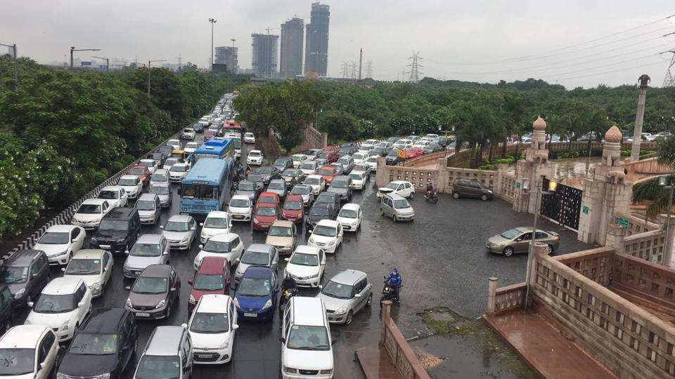 A traffic jam on a major road in Noida after heavy rains on Thursday.