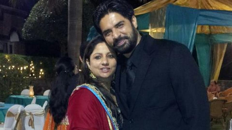In happier times: Ekam Dhillon with wife Seerat Kaur.