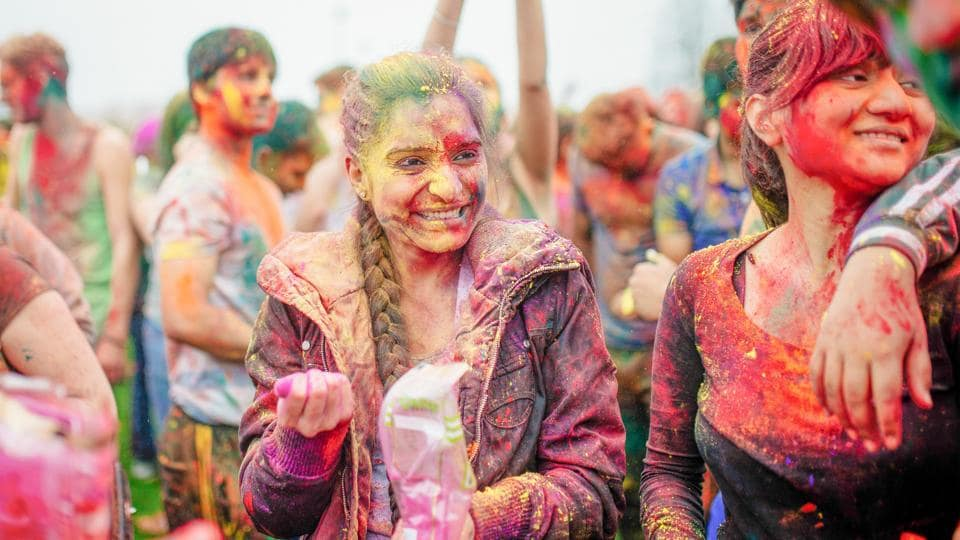 Holi being celebrated on the campus of the University of British Columbia in Canada.