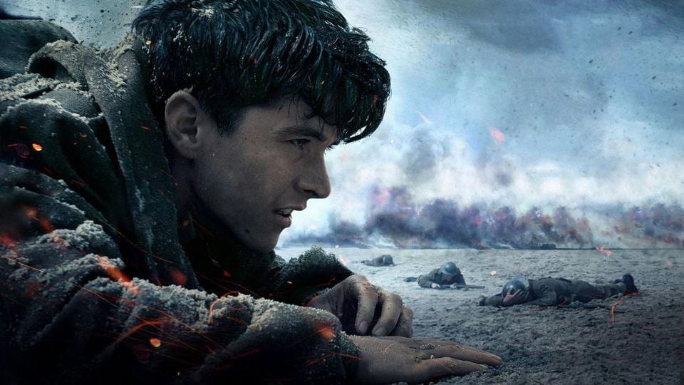 Dunkirk is based on the real-life rescue of thousands of British soldiers from a French port during World War II. The viewer is drawn into the action on land, at sea and in the air as depicted from the vantage points of a footsoldier (Fionn Whitehead, above), a yachtsman and an air force pilot.