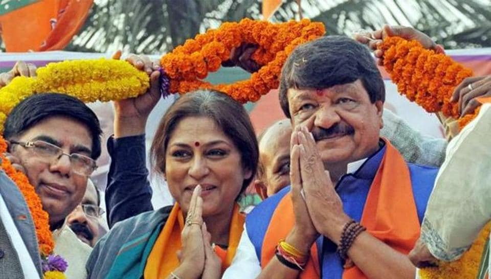 BJP Rajya Sabha MP Roopa Ganguly (middle) and national secretary Kailash Vijayvargiya (right) have dared the Mamata Banerjee government to arrest state BJP party leaders several times.