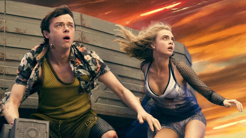 This image released by STX Entertainment shows Dane DeHaan, left, and Cara Delevingne in a scene from Valerian and the City of a Thousand Planets.