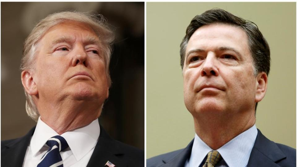 A combination photo shows US President Donald Trump (L) and fired FBI director James Comey.