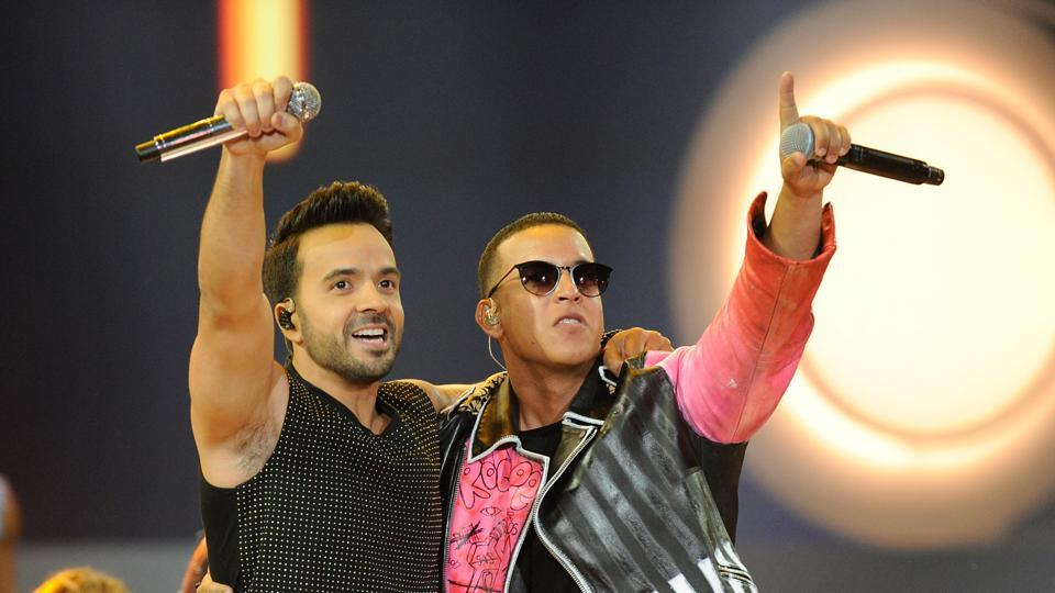 This file photo taken on April 27, 2017 shows Luis Fonsi and Daddy Yankee performing onstage at the Billboard Latin Music Awards at Watsco Center in Coral Gables, Florida.