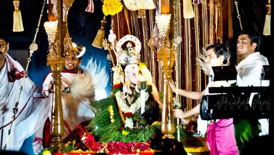 Bhau Rangari Ganpati Trust celebrates Ganeshotsav near Budhwar peth chowk ever year in Pune.