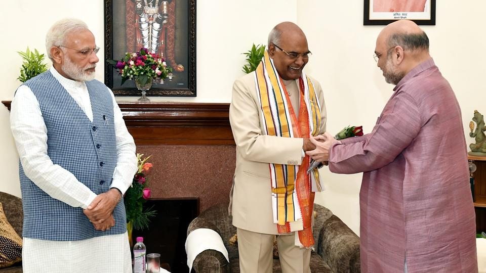 Prime Minister Narendra Modi with BJP president Amit Shah congratulates Ram Nath Kovind on being elected as the 14th President of India, in New Delhi on Thursday.