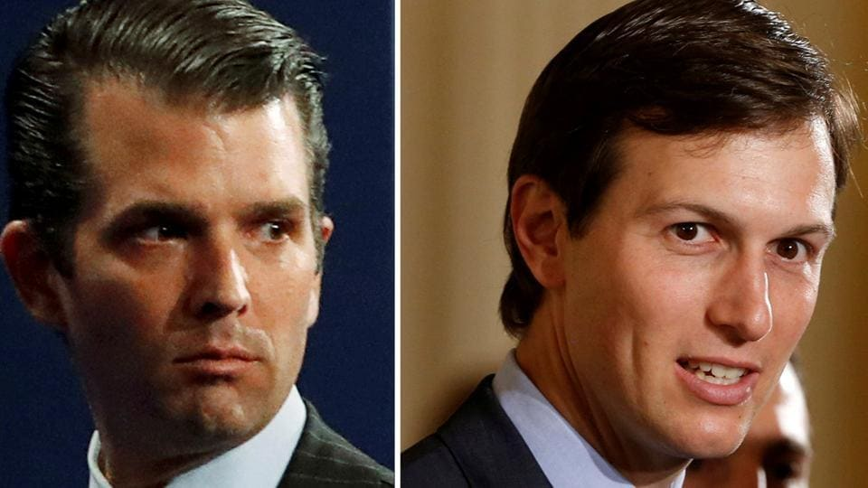 A combination photo of Donald Trump Jr from July 11, 2017 and Jared Kushner from June 6, 2017.