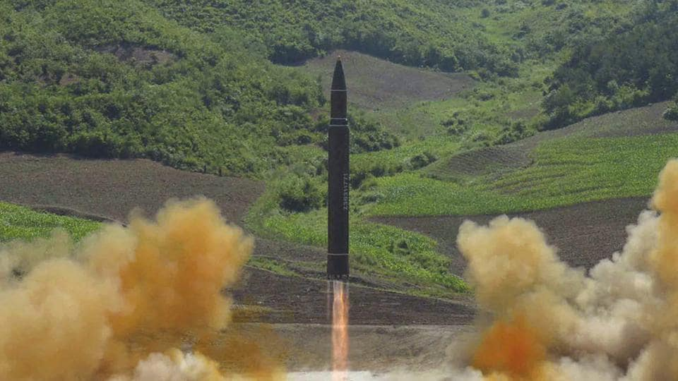 The launch of a Hwasong-14 intercontinental ballistic missile (ICBM) in North Korea.