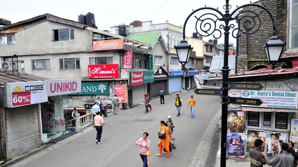Closed shops at Mall road in Shimla  on Thursday  during a bandh called by the BJPto protest the government's handling of teh rape and murder of teenage girl in Kotkhai.