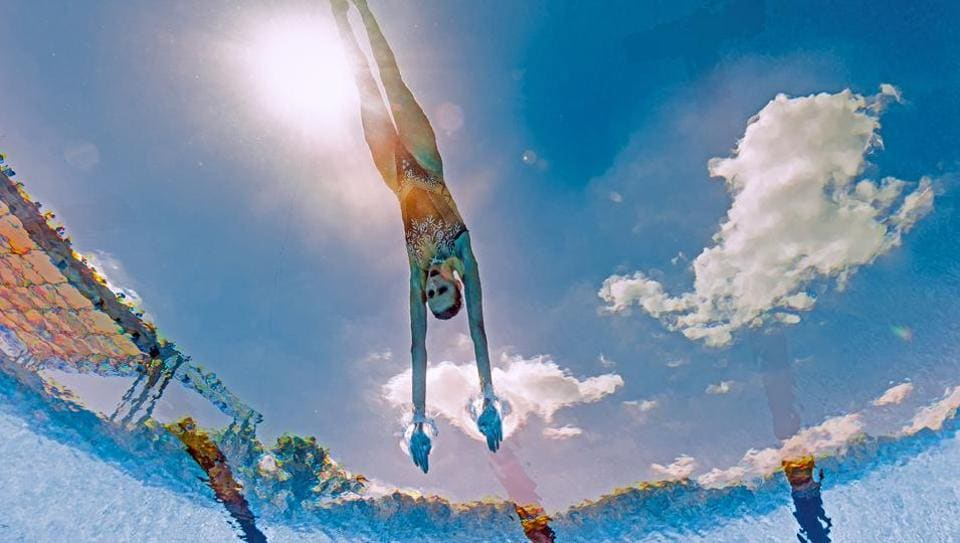 An underwater camera shows Russia's Mikhaela Kalancha competing in the Mixed Duet technical final during the synchronised swimming competition at the 2017 FINA World Championships in Budapest. Hungary is hosting the 17th FINA World Championships, or World Aquatics Championships, July 14-30, for six disciplines: swimming, water polo, open water swimming, synchronized swimming, diving and high diving. (AFP)