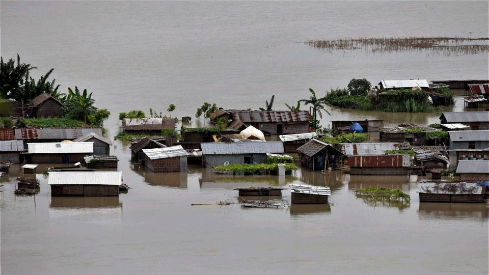 The Brahmaputra was flowing above the danger level at Dibrugarh, Nimatighat, Tezpur, Goalpara and Dhubri on Sunday.