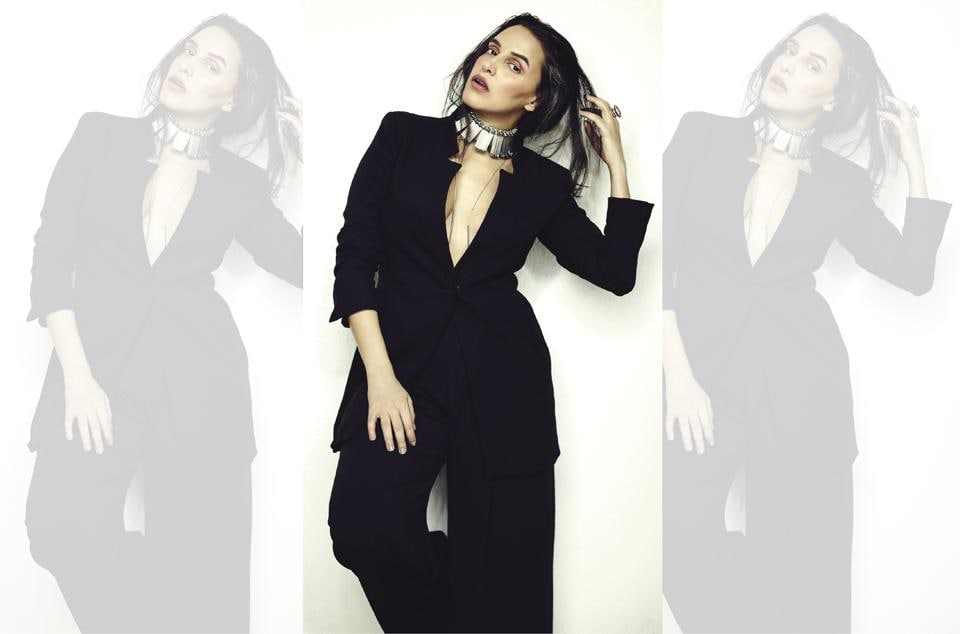 Actor Neha Dhupia. (Neha wears trousers and jacket by Rag & Bone and jewellery from Cult Curators)