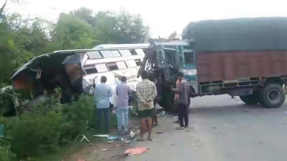 One dead,22 injured,bus-truck collision