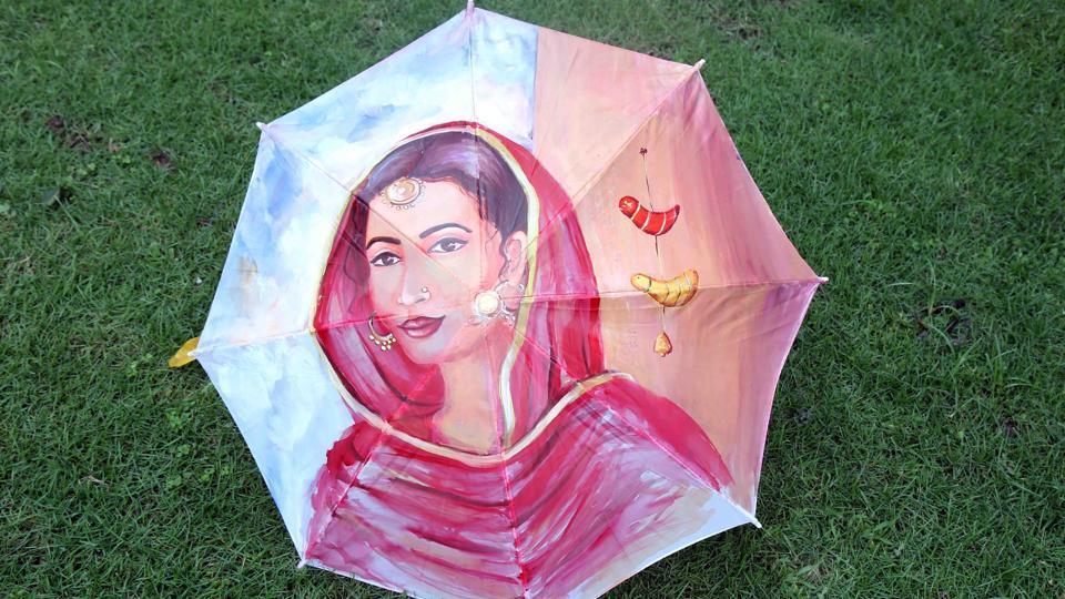 Monsoon,Umbrellas,Painting