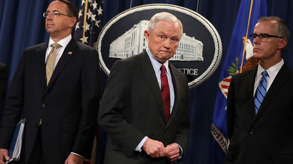 US Attorney General Jeff Sessions at a news conference at the Department of Justice July 20, 2017 in Washington, DC.
