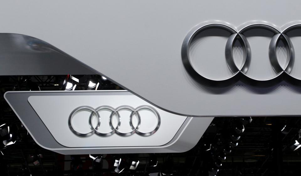 The logo of Audi is pictured at the Auto China 2016 auto show in Beijing.