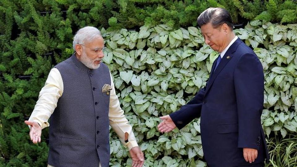 Indian Prime Minister Narendra Modi and Chinese President Xi Jinping during the BRICS Summit in Goa in October 2016