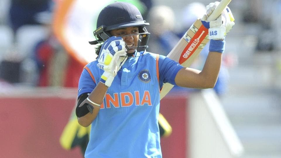 Harmanpreet Kaur hammered seven sixes and 20 boundaries to take India to a formidable total of 281/4 after 42 overs. (AP)