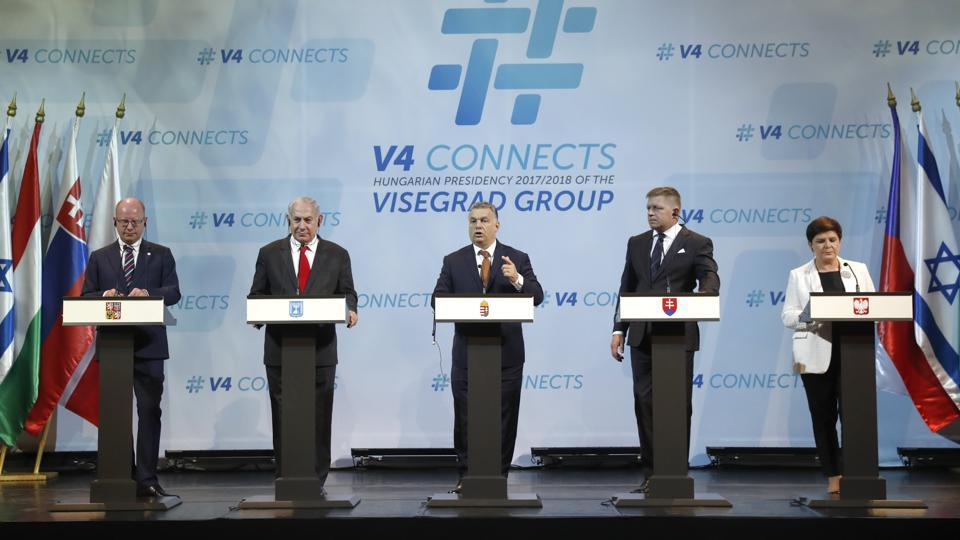 Israel's Prime Minister Benjamin Netanyahu (second left) with the Visegrad Group (V4) of Prime Ministers at a news conference in Budapest.