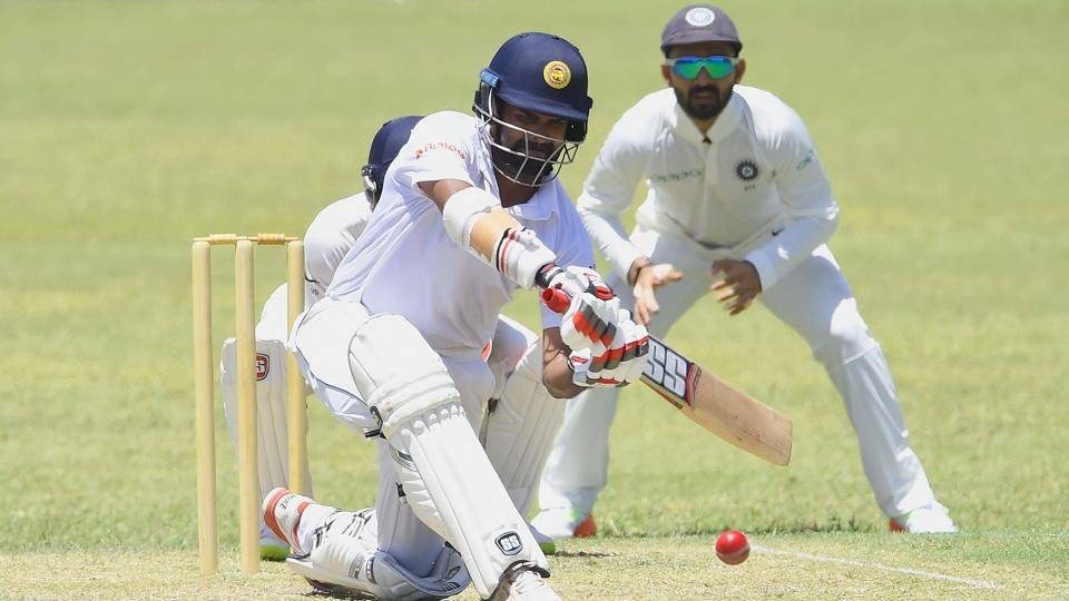 Sri Lanka Board President's XI cricketer Lahiru Thirimanne (L) plays a shot en route to his half century. (AFP)