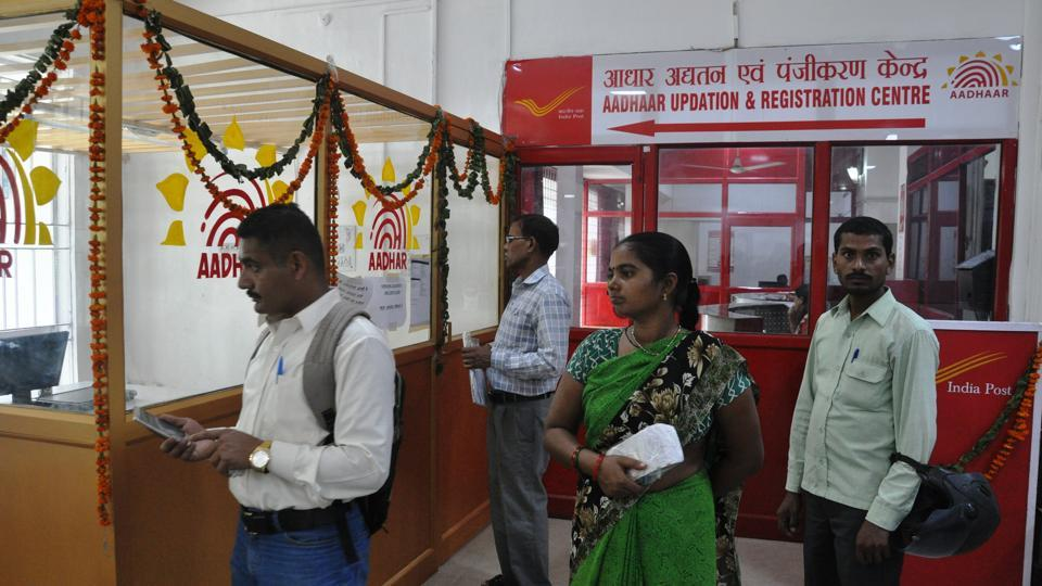 Aadhaar updation and registration center set up at the Dehradun general post office.