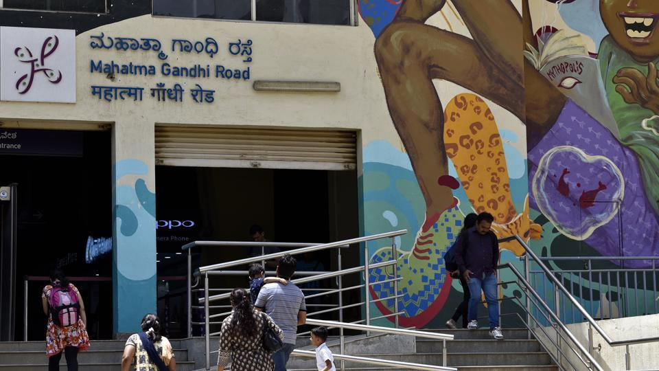 Signage at Mahatma Gandhi Metro station written in Hindi language along with English and Kannada in Bengaluru, on June 23, 2017. People in Bengaluru have been protesting against the use of Hindi language at metro stations.