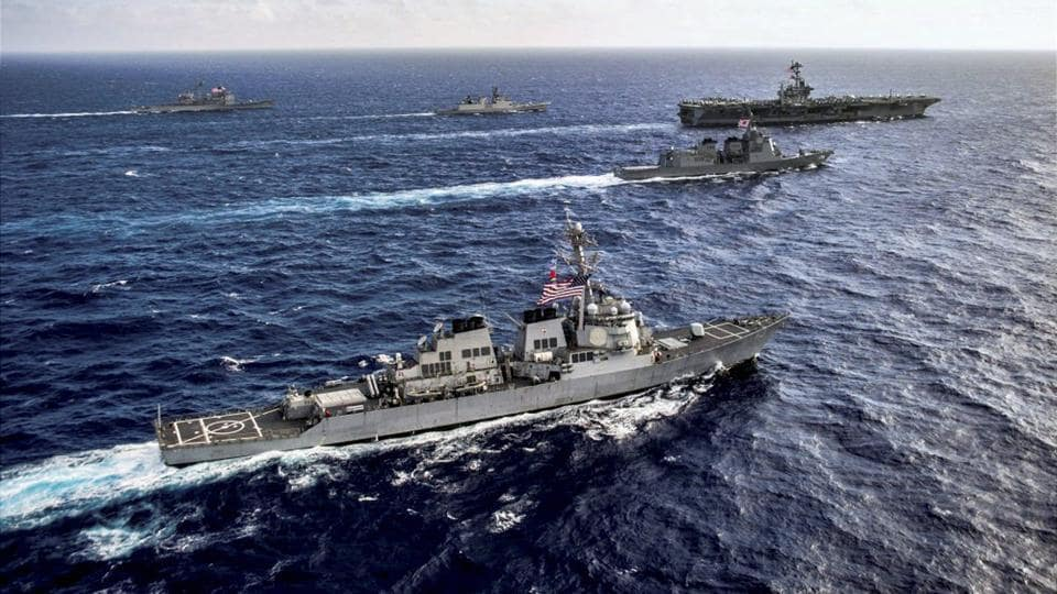 Ships during the sea phase of tri-Nation Malabar 2017 Exercise comprising India, Japan and US navies, in Bay of Bengal off the coast of Chennai. (PTI)