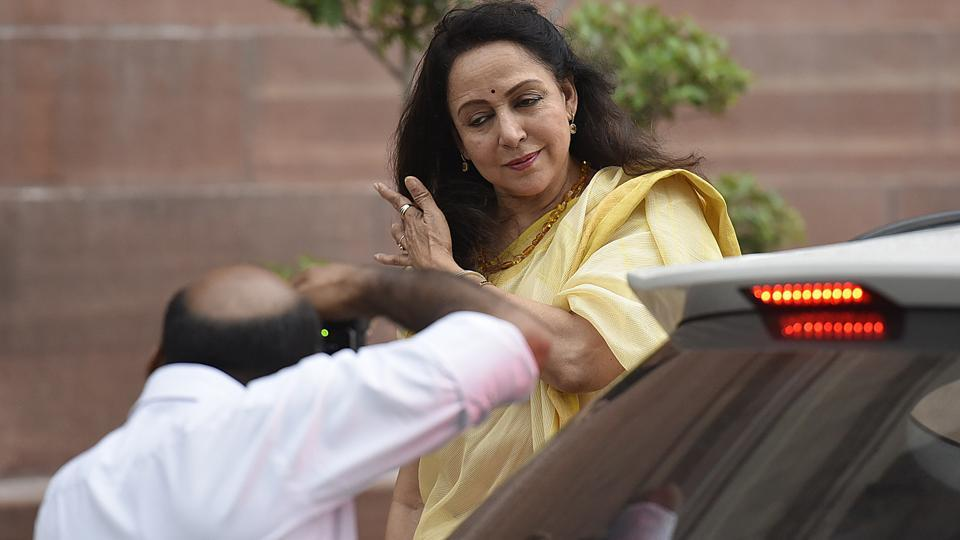 Hema Malini arrives during the Vote for the 14th President of India at Parliament house in New Delhi, India. (Raj K Raj / HT Photo)