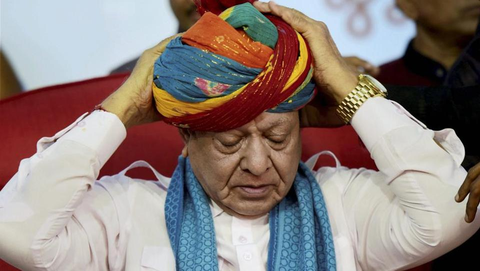 Leader of opposition in Gujarat assembly Shankarsinh Vaghela at a public meeting of his supporters on his 77th birthday, where he announced he was expelled from the Congress, in Gandhinagar on Friday.