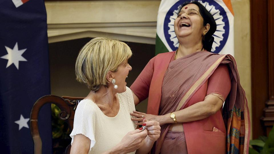 External Affairs Minister Sushma Swaraj with her Australian counterpart Julie Bishop during the signing of an international solar alliance framework agreement in New Delhi. (Kamal Singh / PTI)