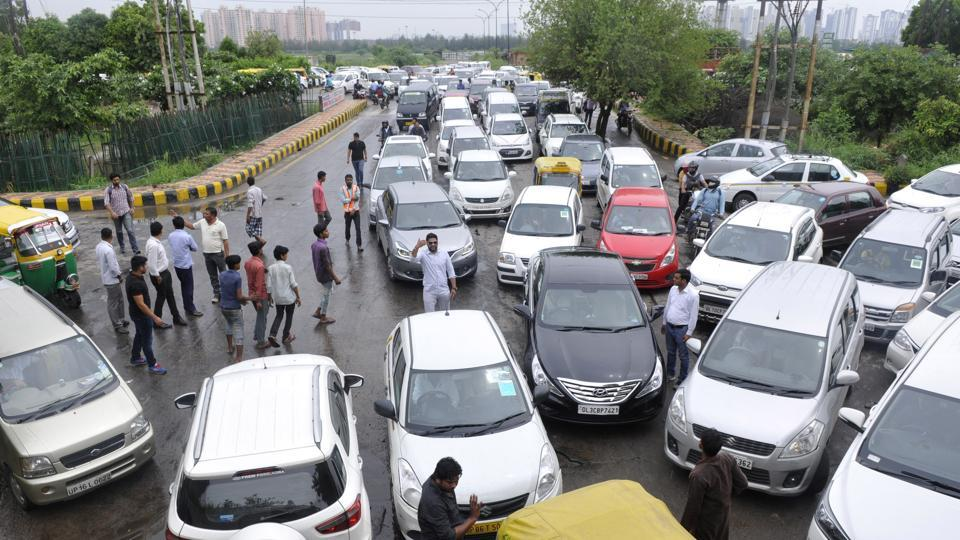 Snarls such as this one at Hajipur underpass were the theme of the day on Thursday as many roads were waterlogged, delaying commuters.
