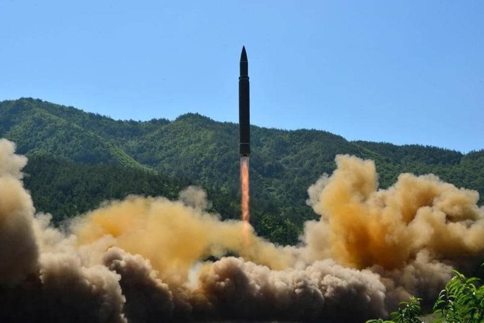 The intercontinental ballistic missile Hwasong-14 is seen during its test in this undated photo released by North Korea's Korean Central News Agency (KCNA) in Pyongyang, July 5.