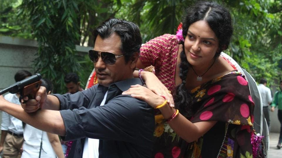 Nawazuddin Siddiqui and Bidita Bag during the trailer launch of Babumoshai Bandookbaaz in Mumbai.