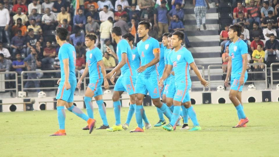 The India U-23 football team leaves the field after losing to Qatar at the 2018 AFC U-23 Championship qualifiers.