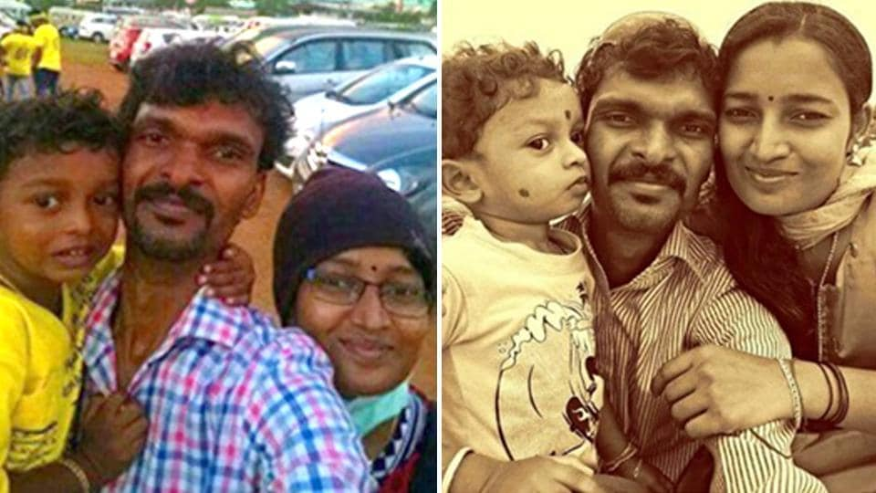 Ramesh Kumar's family photo (left) outside the Kaloor international stadium and the couple with their child before his wife, Achu, was affected by cancer. (Photo courtesy: Vanitha)