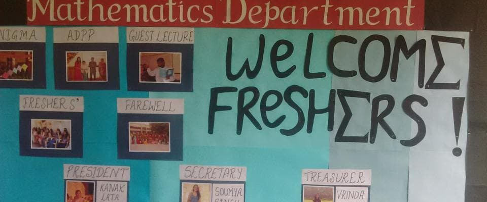 A welcome notice put up for LSR's freshers by the mathematics department
