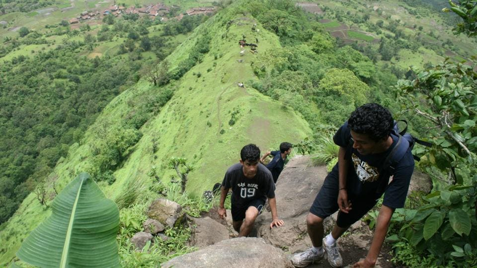 Trekkers at Peth Fort.