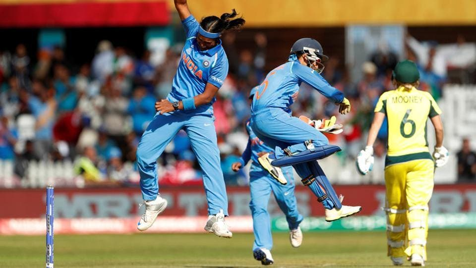 India's Shikha Pandey celebrates the wicket of Australia's Beth Mooney. (Action Images via Reuters)
