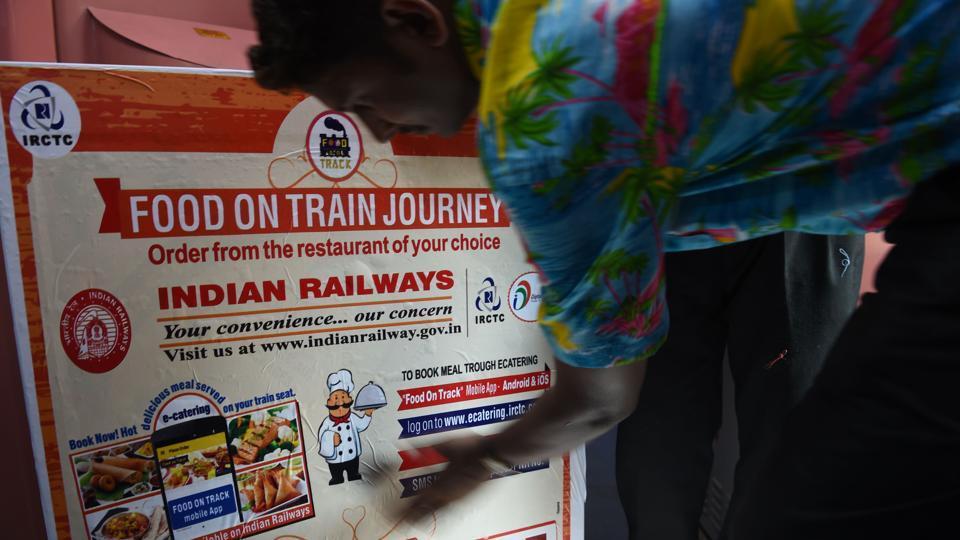 Indian Railways staff prepare a food trolley onboard a train in Mumbai.