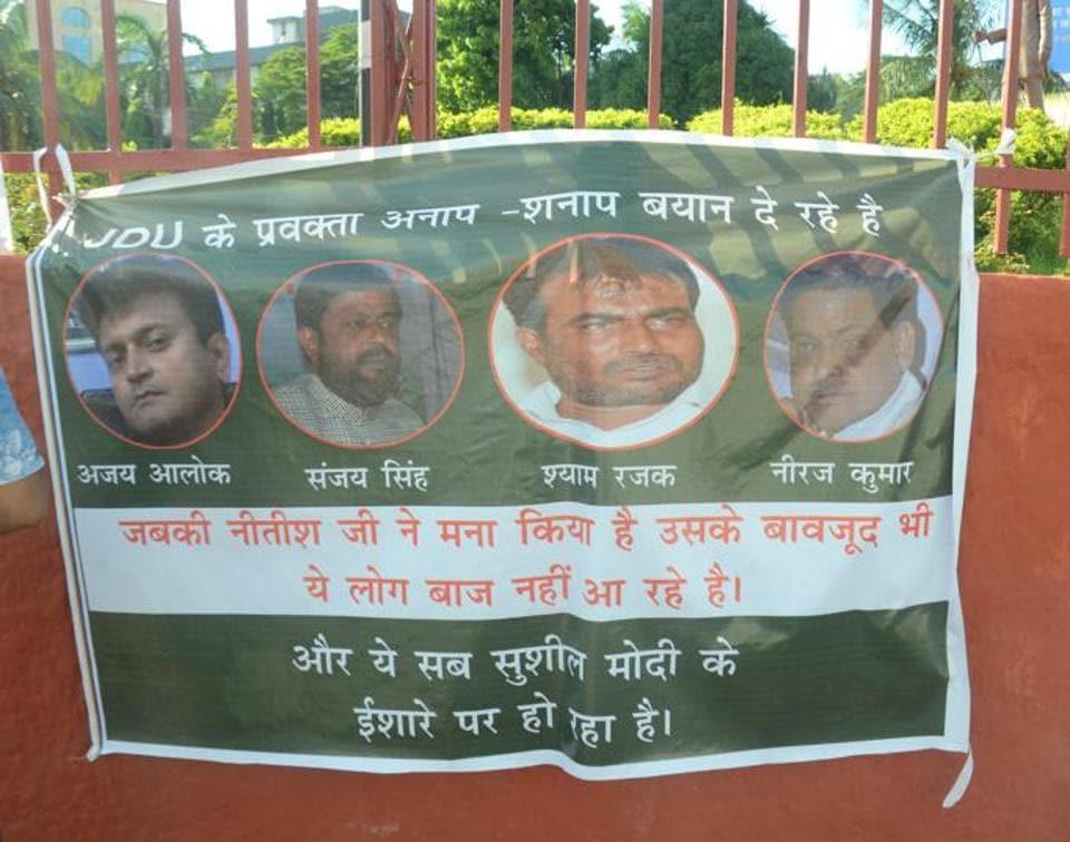 GA trouble,Posters in Patna,JD (U) spokesmen