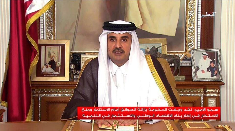 Qatar Emir Sheikh Tamim bin Hamad Al Thani delivers a speech on July 21, 2017  —  his first televised speech since the dispute between Qatar and four Arab nations began.
